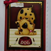 3D Luxury Handmade Card Birthday Big Spotty Dog Empty Food Bowl Knife Fork