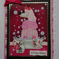 3D Luxury Handmade Card Birthday Poodle Soap Suds Bath Pink Pampered Dog