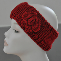 Ladies Hand Knitted Headband Ear Warmer Head Band Crochet Flower Red