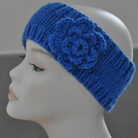 Ladies Hand Knitted Headband Ear Warmer Head Band Crochet Flower Blue
