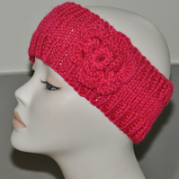 Ladies Hand Knitted Headband Ear Warmer Head Band Crochet Flower Hot Pink