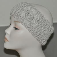 Ladies Hand Knitted Headband Ear Warmer Head Band Crochet Flower Stone