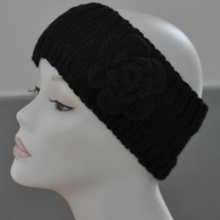 Ladies Hand Knitted Headband Ear Warmer Head Band Crochet Flower Black