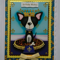 3D Luxury Handmade Card Birthday King Prince Dog Crown Necklace Collar
