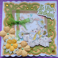 3D Luxury Handmade Birthday Card Cute Bunny Rabbits Glitter Gift Flowers