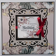3D Luxury Handmade Card Sending You Birthday Wishes Winter Berry Flowers