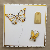 3D Luxury Handmade Card A Note To Say Butterfly Butterflies Gems