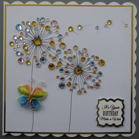 3D Luxury Handmade Card It's Your Birthday Make A Wish Gems Dandelions Butterfly