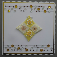 3D Luxury Handmade Card Any Occasion Gems Flowers Cheerful Yellow