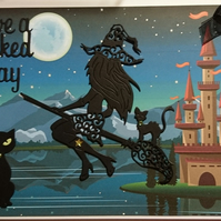 3D Luxury Handmade Card Have A Wicked Day Flying Sexy Witch Castle Black Cats