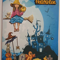 3D Luxury Handmade Card Happy Halloween Witch Cats Broomstick Spooky House