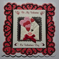 3D Luxury Handmade Card Be My Valentine on Valentines Day Hearts in Envelope
