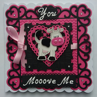 3D Luxury Handmade Card You Mooove Me Cow White Black Pink Love Heart Fun