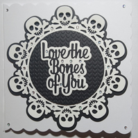 3D Luxury Handmade Card Halloween Love The Bones Of You Black White Skulls