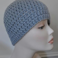 Men's Hand Crocheted Silver Grey Winter Beanie Hat