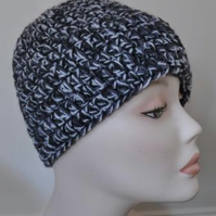 Men's Hand Crocheted Black Grey Winter Multi Colour Beanie Hat