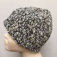 Men's Hand Crocheted Black White Grey Winter Multi Colour Beanie Hat