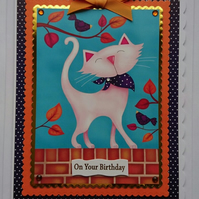 3D Luxury Handmade Card Birthday Cute Cat Aristocat on a Wall Catwalk