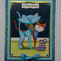 3D Luxury Handmade Card Birthday Wishes Cute Cats Wearing Handkerchiefs Milk