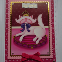 3D Luxury Handmade Card Birthday Cute Pretty Posh Cat On A Pink Cushion Princess