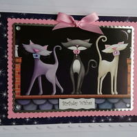3D Luxury Handmade Card Birthday Cute Pretty Posh Cats On A Roof Night Sky