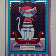 3D Luxury Handmade Card Birthday French Cute Cat Sunglasses Handkerchief Beret