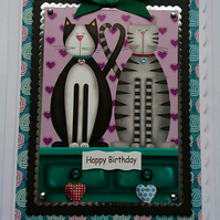 3D Luxury Handmade Card Birthday Cute Cats On A Dresser Dressing Table