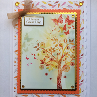 3D Luxury Handmade Card Have A Great Day Autumn Leaves Tree of Life Butterflies