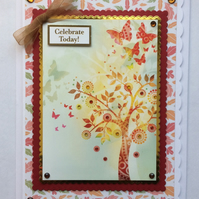 3D Luxury Handmade Card Celebrate Today Autumn Leaves Tree of Life Butterflies