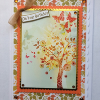 3D Luxury Handmade Card On Your Birthday Autumn Leaves Tree of Life Butterflies