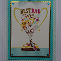 3D Luxury Handmade Card Best Dad in the World Birthday Father's Day Trophy