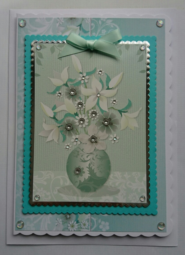3D Luxury Handmade Card With Heartfelt Sympathy Flowers Vase Jewels