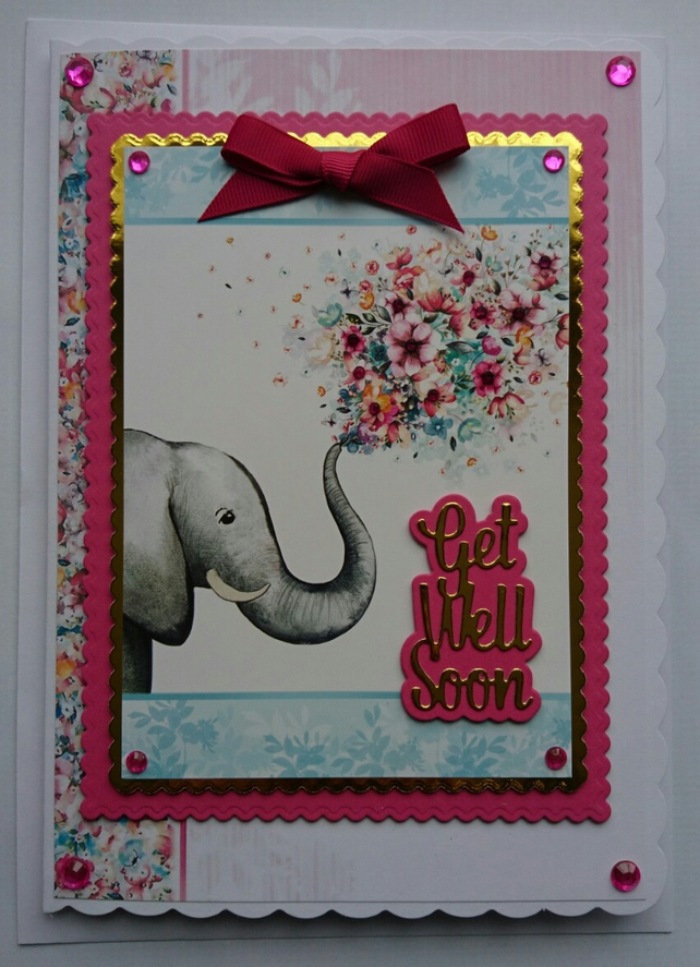 3D Luxury Handmade Card Cute Elephant Get Well Soon Flowers