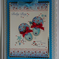 3D Luxury Handmade Card New Baby Boy Blue Booties Shoes Stars Tiny Toes
