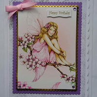 3D Luxury Handmade Card Happy Birthday Fairy Wings Girl Teenager Young Woman