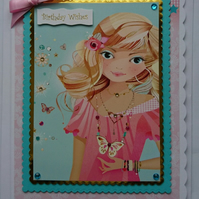 3D Luxury Handmade Card Birthday Wishes Girl Teenager Young Woman Blonde