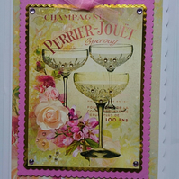 3D Luxury Handmade Card Champagne French Vintage Glasses Perrier Jouet