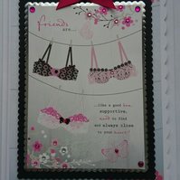 3D Luxury Handmade Card Friends Are Like A Good Bra Supportive Close to Heart