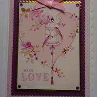 3D Luxury Handmade Card With Love Birds Oriental Birdcage Heart Flowers Vintage