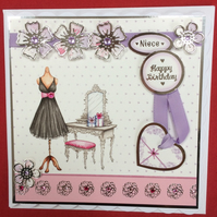 3D Luxury Handmade Card Happy Birthday Niece Flowers Dress PoppyKayDesigns