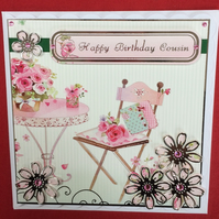 3D Luxury Handmade Card Happy Birthday Cousin Flowers Floral PoppyKayDesigns