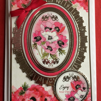 3D Luxury Handmade Card Enjoy Your Day Poppies by Poppy Kay Designs