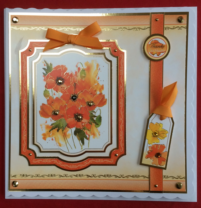 3D Luxury Handmade Card Thanks So Much Poppies by Poppy Kay Designs