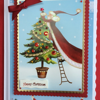 3D Luxury Handmade Happy Christmas Card Santa Claus Xmas Tree Poppy Kay Designs