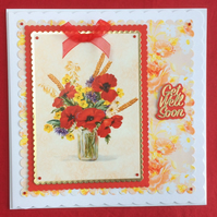 3D Luxury Handmade Card Get Well Soon Poppies by Poppy Kay Designs