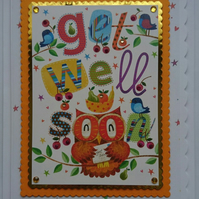 3D Luxury Handmade Get Well Soon Card Cute Owl with Birds and Fruit