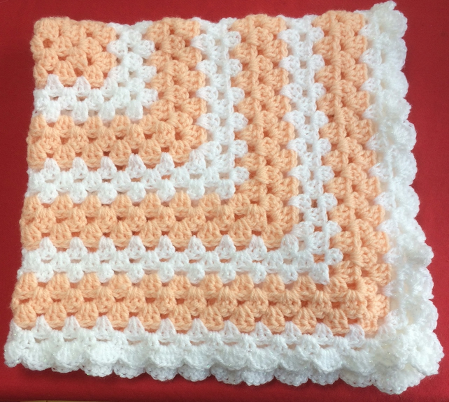 Winter Apricot Peach Sparkly White Hand Crochet Baby Blanket Poppy Kay Designs
