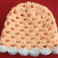Winter Apricot Peach Sparkly White Hand Crochet Baby Hat Poppy Kay Designs