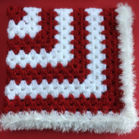Winter Christmas Red and White Baby Blanket Hand Crochet by Poppy Kay Designs