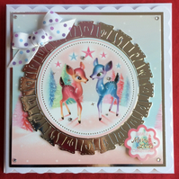 3D Luxury Handmade Card Have a Merry Little Christmas Deer by Poppy Kay Designs